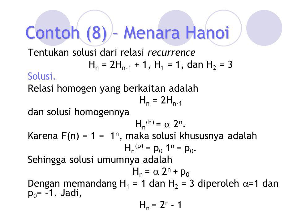 Contoh (8) – Menara Hanoi Tentukan solusi dari relasi recurrence H n = 2H n-1 + 1, H 1 = 1, dan H 2 = 3 Solusi. Relasi homogen yang berkaitan adalah H