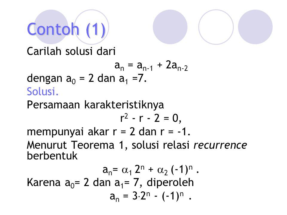 Contoh (5) Solusi homogen dari relasi homogen yang berkaitan, a n = 3a n-1 adalah a n (h) =  3 n, dengan  konstan.