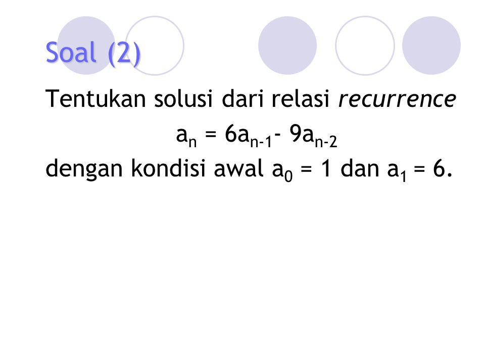 Contoh (7) Carilah solusi khusus dari relasi recurrence a n = 6a n-1 - 9a n-2 + F(n) bila 1.F(n) = 3 n, 2.F(n) = n 3 n, 3.F(n) = n 2 2 n, dan 4.F(n) = (n 2 +1) 3 n Solusi.