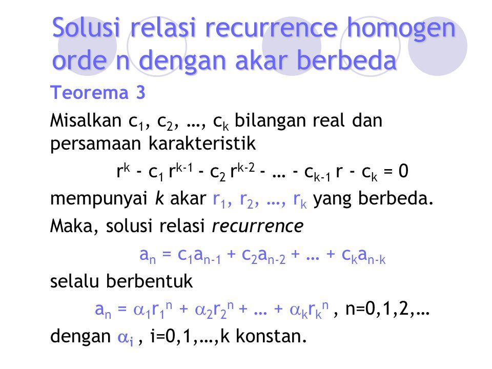 Teorema 3 Misalkan c 1, c 2, …, c k bilangan real dan persamaan karakteristik r k - c 1 r k-1 - c 2 r k-2 - … - c k-1 r - c k = 0 mempunyai k akar r 1