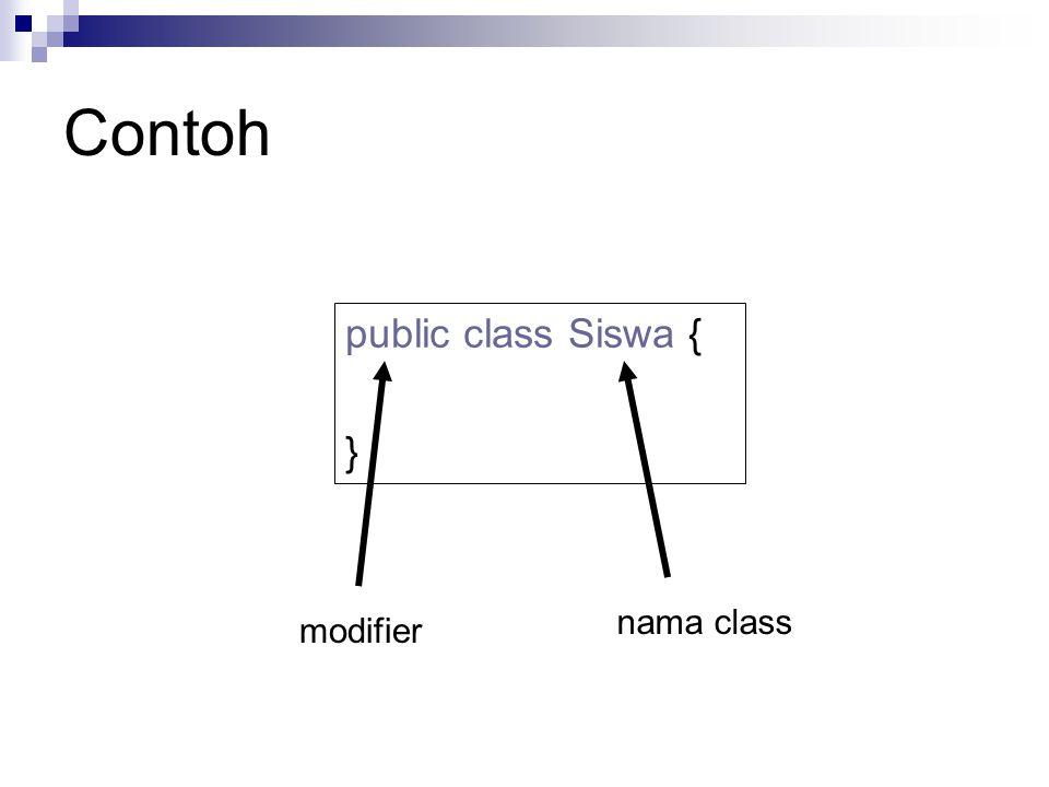 Contoh public class Siswa { } nama class modifier