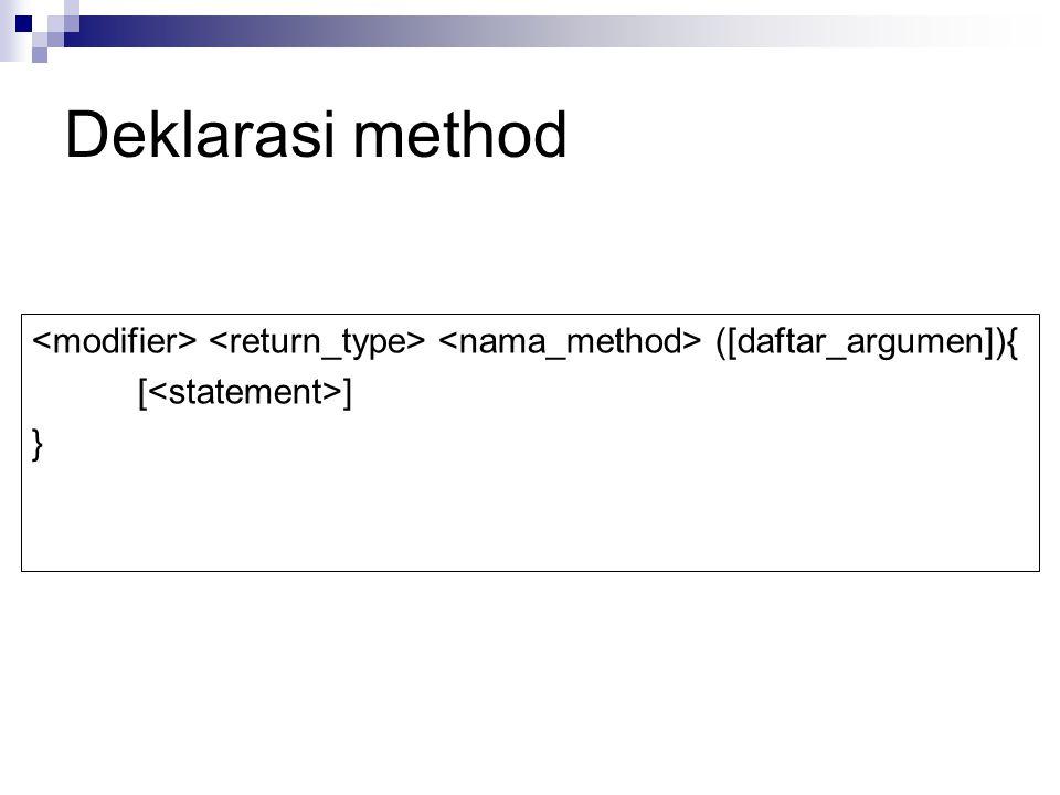 Deklarasi method ([daftar_argumen]){ [ ] }