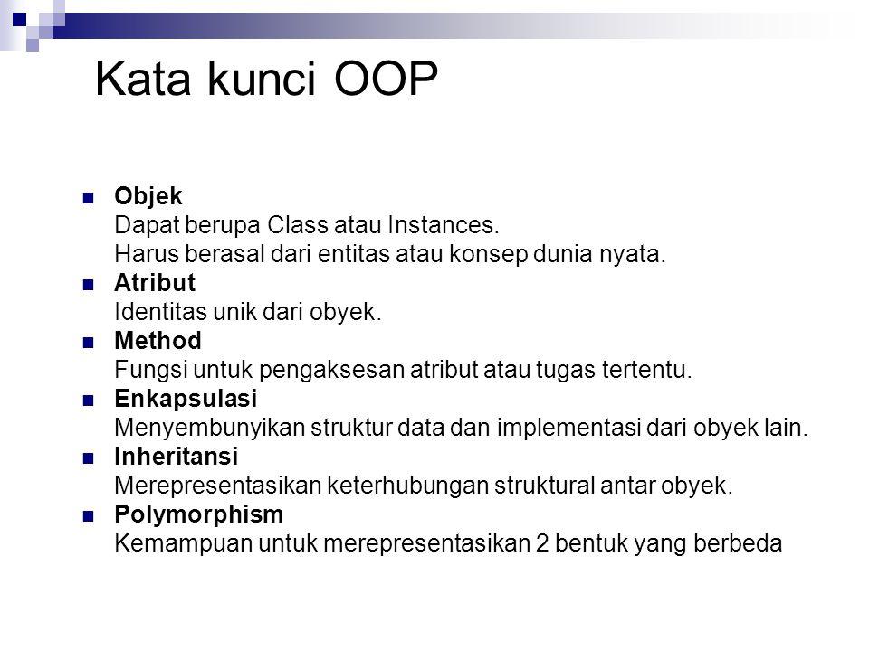 Kata kunci OOP Objek Dapat berupa Class atau Instances. Harus berasal dari entitas atau konsep dunia nyata. Atribut Identitas unik dari obyek. Method