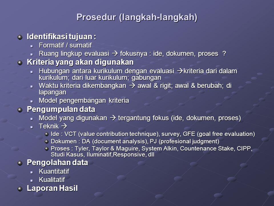 Prosedur (langkah-langkah) Identifikasi tujuan : Formatif / sumatif Formatif / sumatif Ruang lingkup evaluasi  fokusnya : ide, dokumen, proses ? Ruan