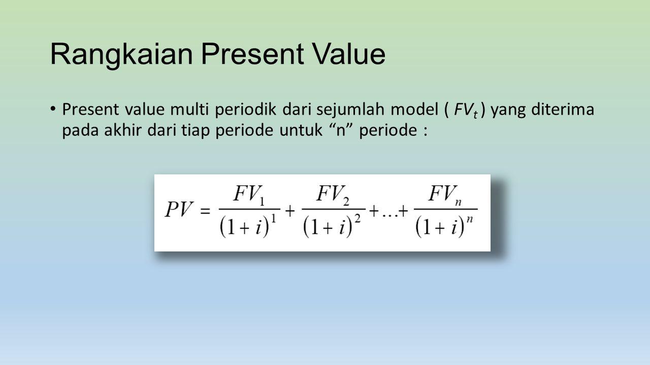 Net Present Value Jika seorang manajer dapat memperoleh aliran uang yang masuk di masa yang akan datang (FV t ) dengan menghabiskan C 0 dollar hari ini.