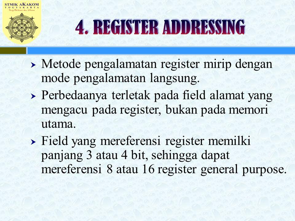  Metode pengalamatan register mirip dengan mode pengalamatan langsung.  Perbedaanya terletak pada field alamat yang mengacu pada register, bukan pad