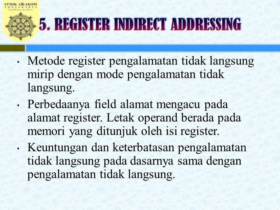 Metode register pengalamatan tidak langsung mirip dengan mode pengalamatan tidak langsung. Perbedaanya field alamat mengacu pada alamat register. Leta