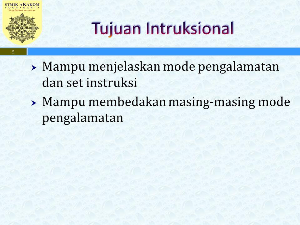  Mampu menjelaskan mode pengalamatan dan set instruksi  Mampu membedakan masing-masing mode pengalamatan 5