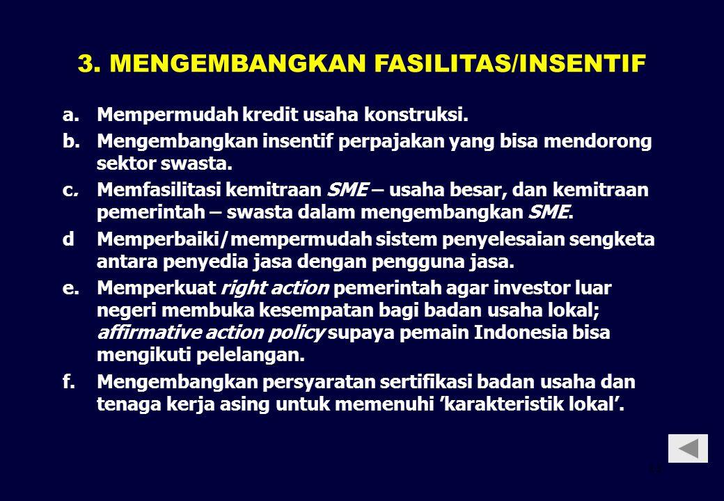 13 a.Mempermudah kredit usaha konstruksi. b.Mengembangkan insentif perpajakan yang bisa mendorong sektor swasta. c.Memfasilitasi kemitraan SME – usaha