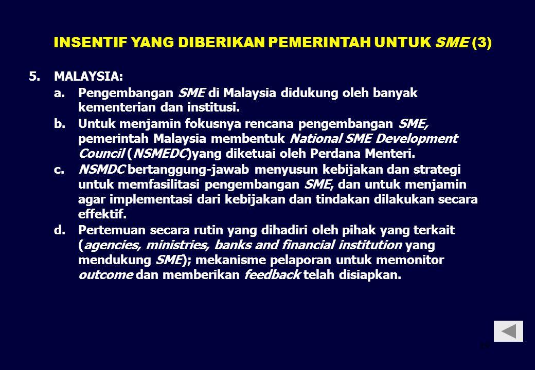 19 5. 5.MALAYSIA: a.Pengembangan SME di Malaysia didukung oleh banyak kementerian dan institusi. b.Untuk menjamin fokusnya rencana pengembangan SME, p