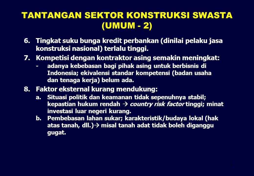 9 TANTANGAN SEKTOR KONSTRUKSI SWASTA (KHUSUS PPP) 1.Sistem untuk mendorong investasi swasta belum terbentuk.