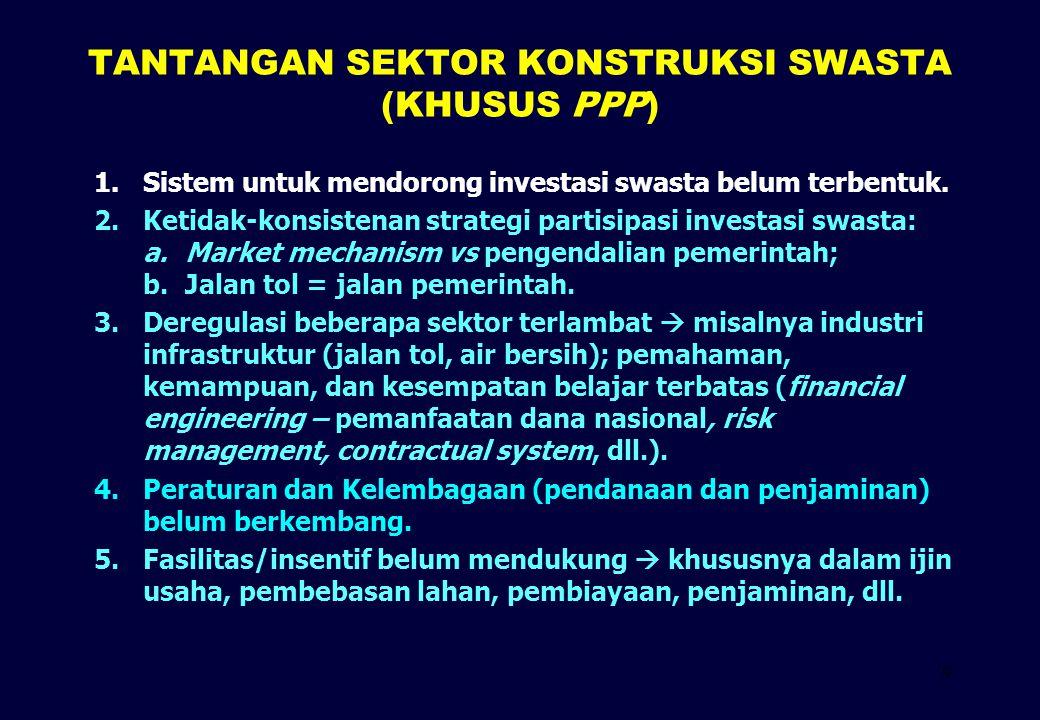 9 TANTANGAN SEKTOR KONSTRUKSI SWASTA (KHUSUS PPP) 1.Sistem untuk mendorong investasi swasta belum terbentuk. 2.Ketidak-konsistenan strategi partisipas