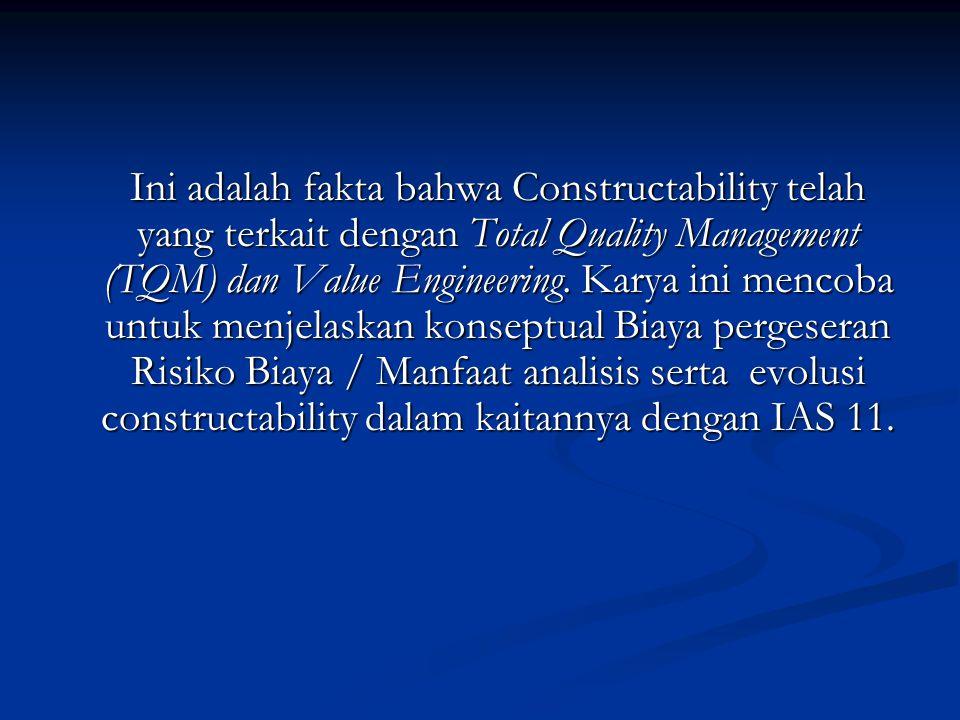 Ini adalah fakta bahwa Constructability telah yang terkait dengan Total Quality Management (TQM) dan Value Engineering. Karya ini mencoba untuk menjel