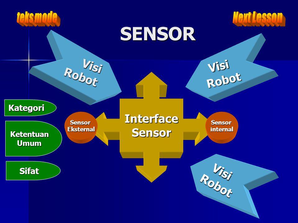 SENSOR Visi VisiRobot Robot InterfaceSensor Sensorinternal Kategori KetentuanUmum Sifat Robot SensorEksternal