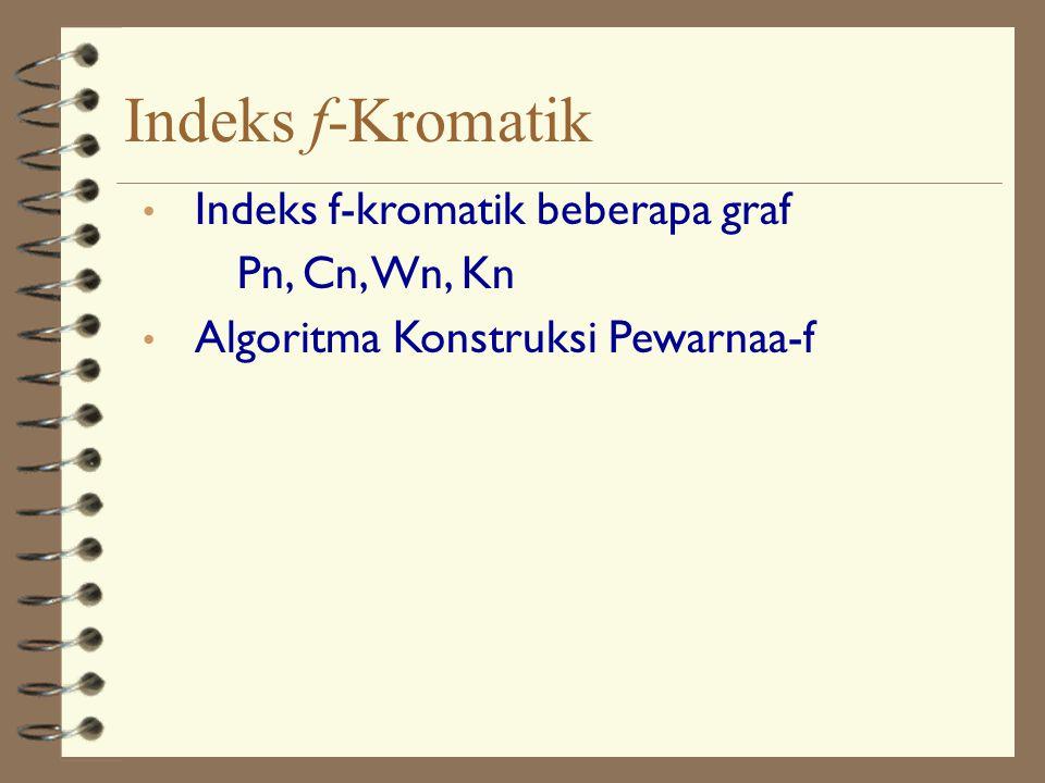 Indeks f-kromatik beberapa graf Pn, Cn, Wn, Kn Algoritma Konstruksi Pewarnaa-f Indeks f-Kromatik
