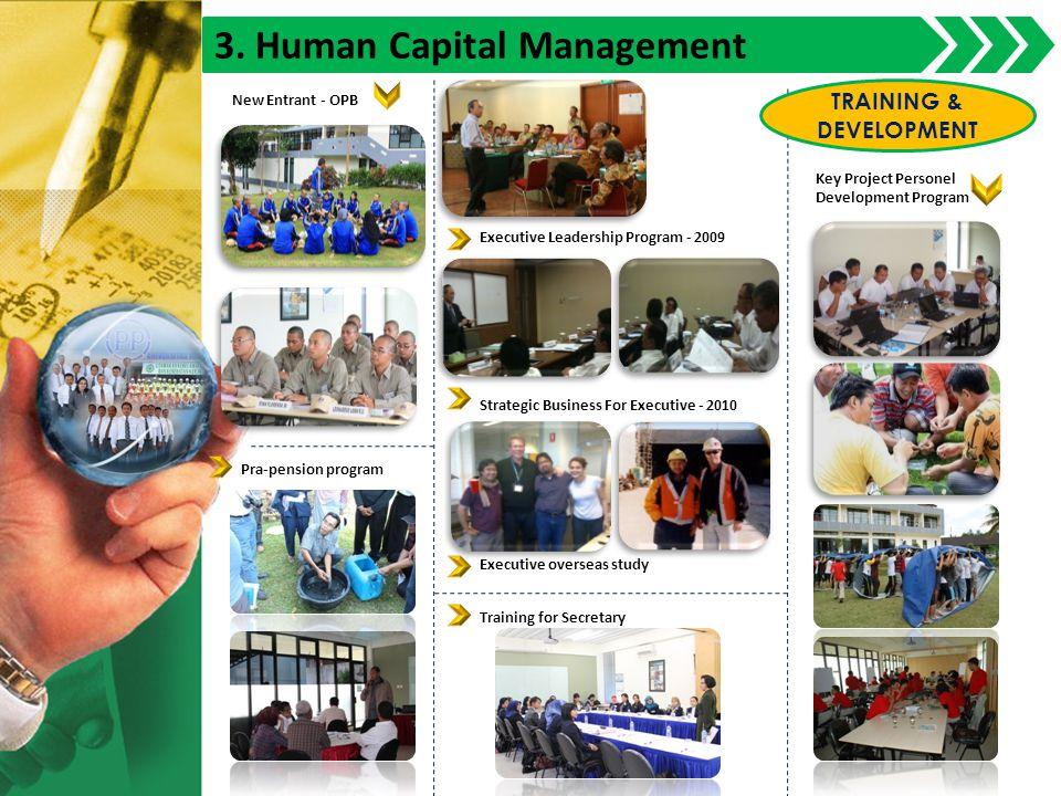 3. Human Capital Management Executive Leadership Program - 2009 Strategic Business For Executive - 2010 Executive overseas study Key Project Personel