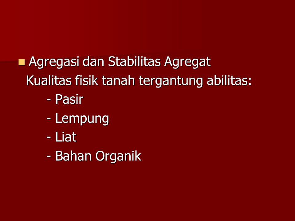 Agregasi dan Stabilitas Agregat Agregasi dan Stabilitas Agregat Kualitas fisik tanah tergantung abilitas: Kualitas fisik tanah tergantung abilitas: -