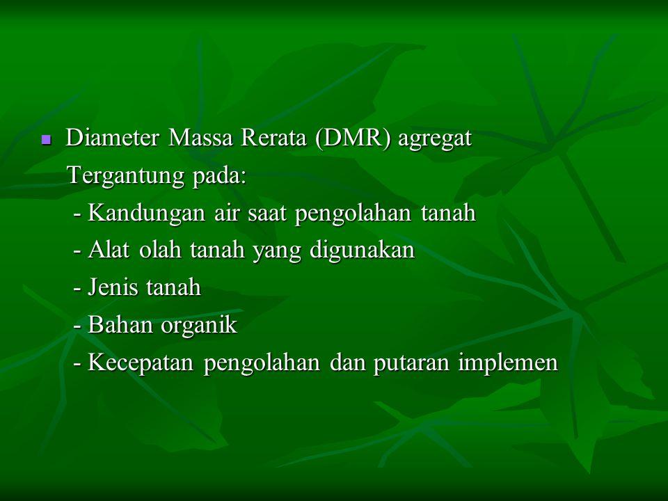 Diameter Massa Rerata (DMR) agregat Diameter Massa Rerata (DMR) agregat Tergantung pada: Tergantung pada: - Kandungan air saat pengolahan tanah - Kand