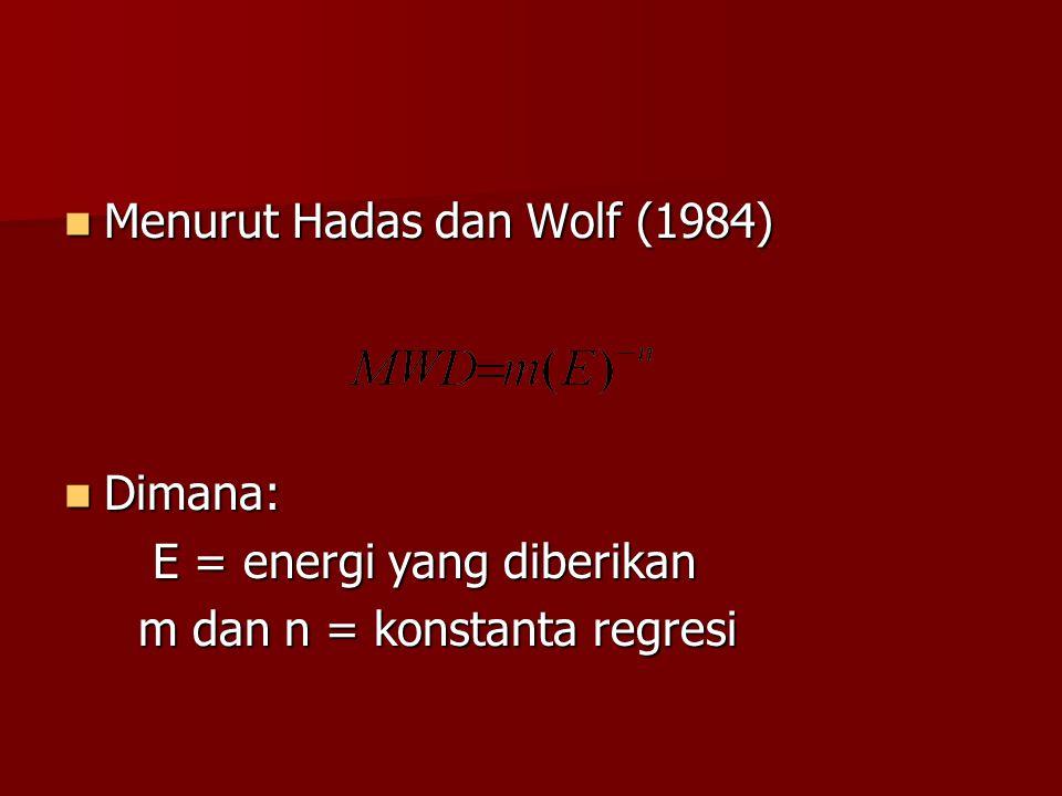 Menurut Hadas dan Wolf (1984) Menurut Hadas dan Wolf (1984) Dimana: Dimana: E = energi yang diberikan E = energi yang diberikan m dan n = konstanta re