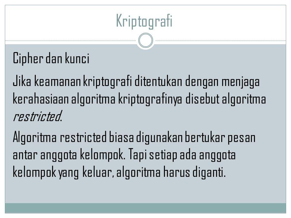 Kriptografi Jika keamanan kriptografi ditentukan dengan menjaga kerahasiaan algoritma kriptografinya disebut algoritma restricted. Algoritma restricte