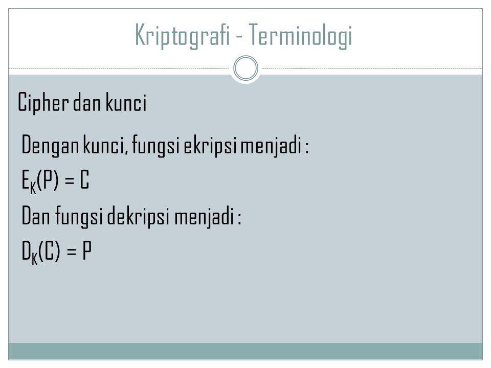 Kriptografi - Terminologi Dengan kunci, fungsi ekripsi menjadi : E K (P) = C Dan fungsi dekripsi menjadi : D K (C) = P Cipher dan kunci