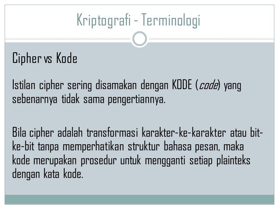 Kriptografi - Terminologi Istilan cipher sering disamakan dengan KODE (code) yang sebenarnya tidak sama pengertiannya. Bila cipher adalah transformasi