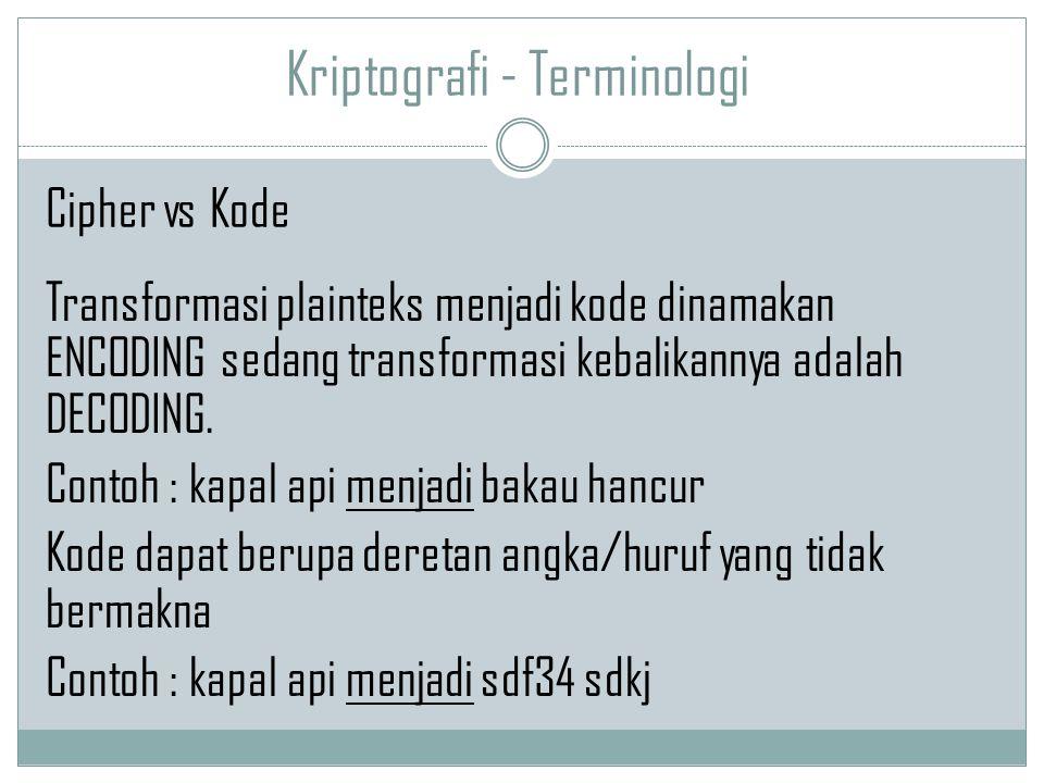 Kriptografi - Terminologi Transformasi plainteks menjadi kode dinamakan ENCODING sedang transformasi kebalikannya adalah DECODING. Contoh : kapal api
