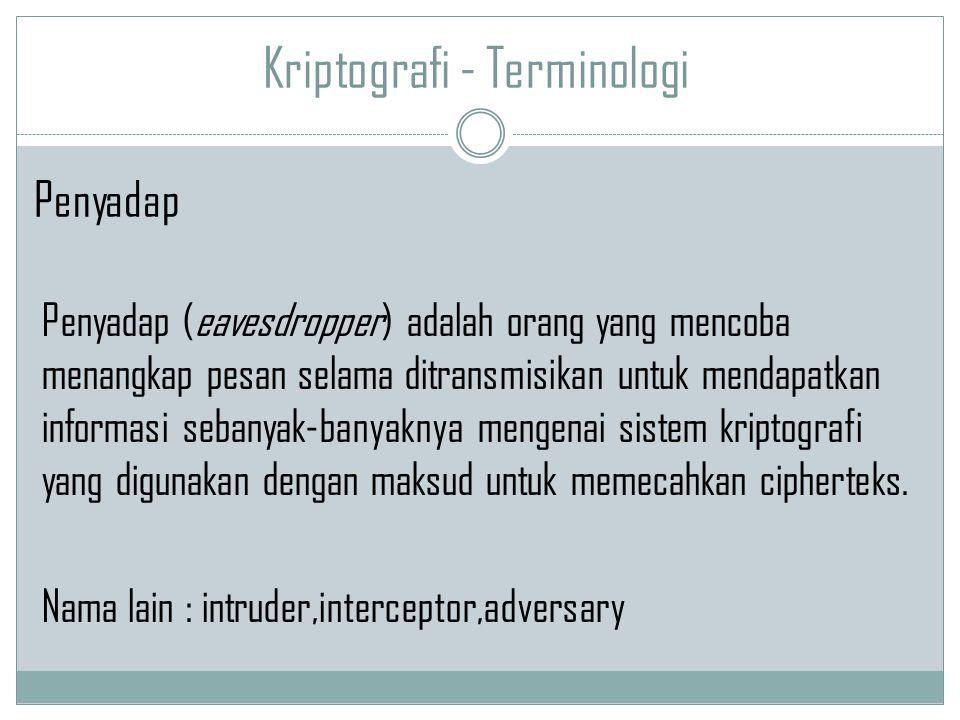 Kriptografi - Terminologi Penyadap (eavesdropper) adalah orang yang mencoba menangkap pesan selama ditransmisikan untuk mendapatkan informasi sebanyak