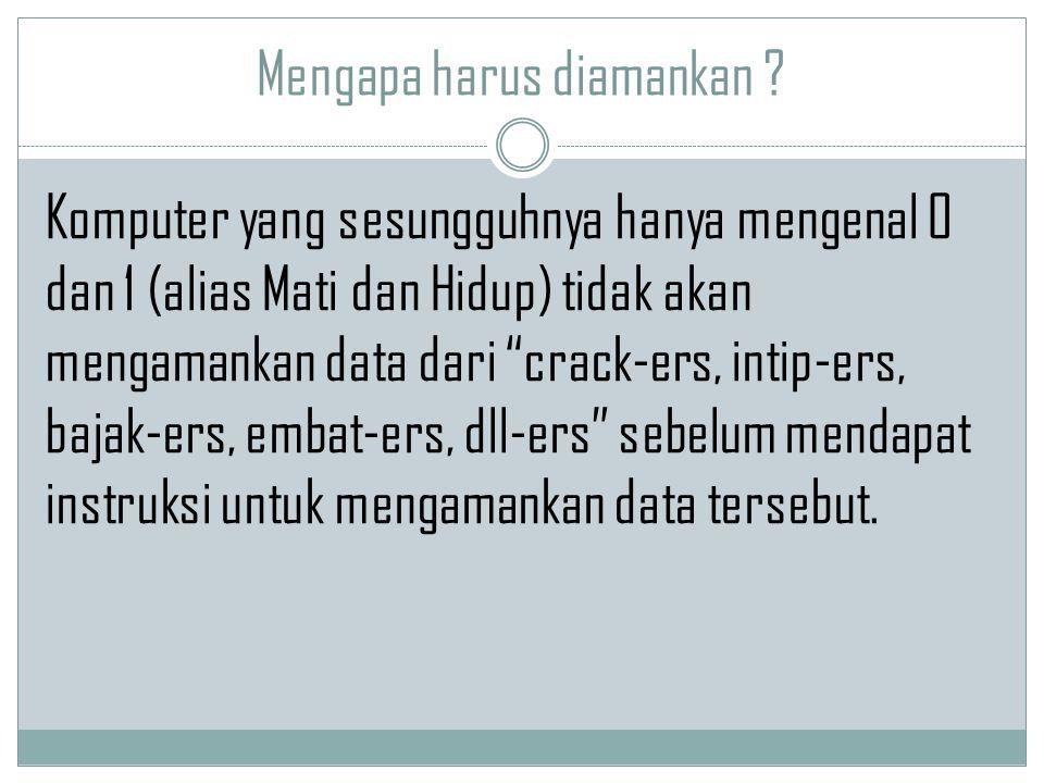 """Mengapa harus diamankan ? Komputer yang sesungguhnya hanya mengenal 0 dan 1 (alias Mati dan Hidup) tidak akan mengamankan data dari """"crack-ers, intip-"""