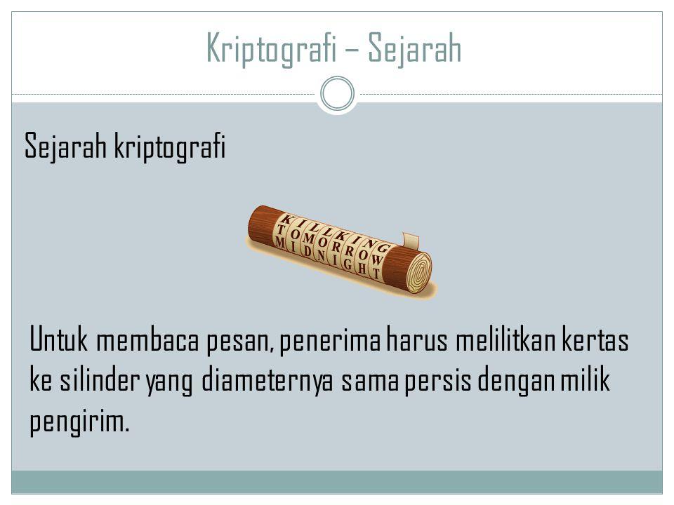 Kriptografi – Sejarah Untuk membaca pesan, penerima harus melilitkan kertas ke silinder yang diameternya sama persis dengan milik pengirim. Sejarah kr
