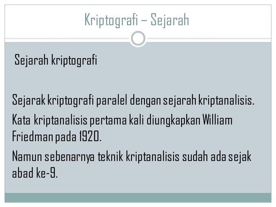 Kriptografi – Sejarah Sejarak kriptografi paralel dengan sejarah kriptanalisis. Kata kriptanalisis pertama kali diungkapkan William Friedman pada 1920