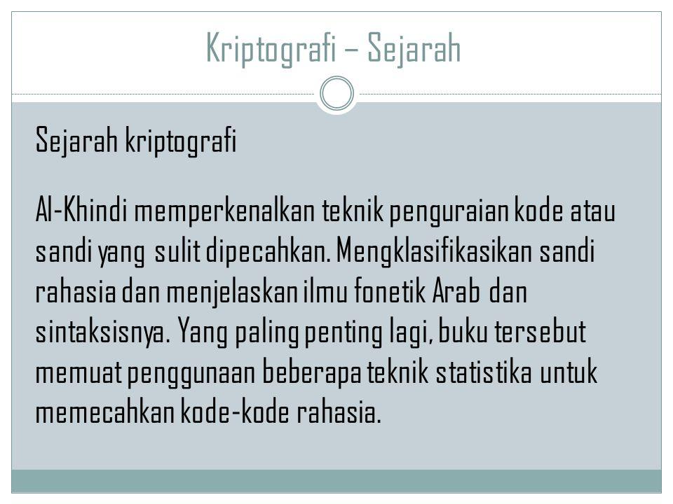 Kriptografi – Sejarah Al-Khindi memperkenalkan teknik penguraian kode atau sandi yang sulit dipecahkan. Mengklasifikasikan sandi rahasia dan menjelask