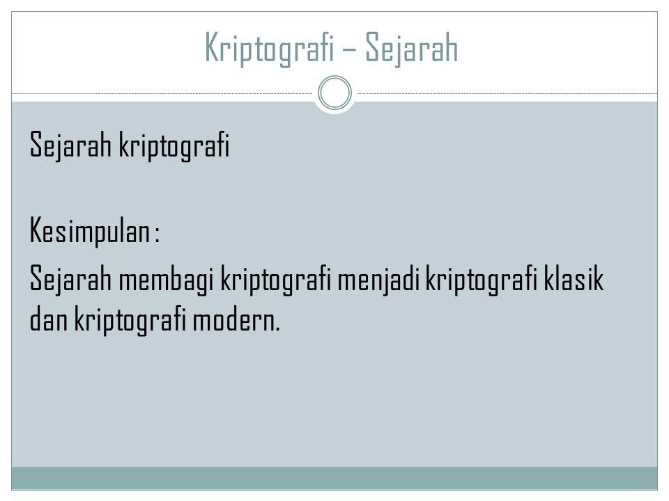 Kriptografi – Sejarah Kesimpulan : Sejarah membagi kriptografi menjadi kriptografi klasik dan kriptografi modern. Sejarah kriptografi