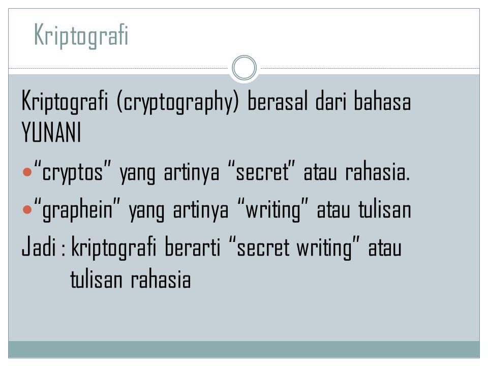 "Kriptografi (cryptography) berasal dari bahasa YUNANI ""cryptos"" yang artinya ""secret"" atau rahasia. ""graphein"" yang artinya ""writing"" atau tulisan Jad"