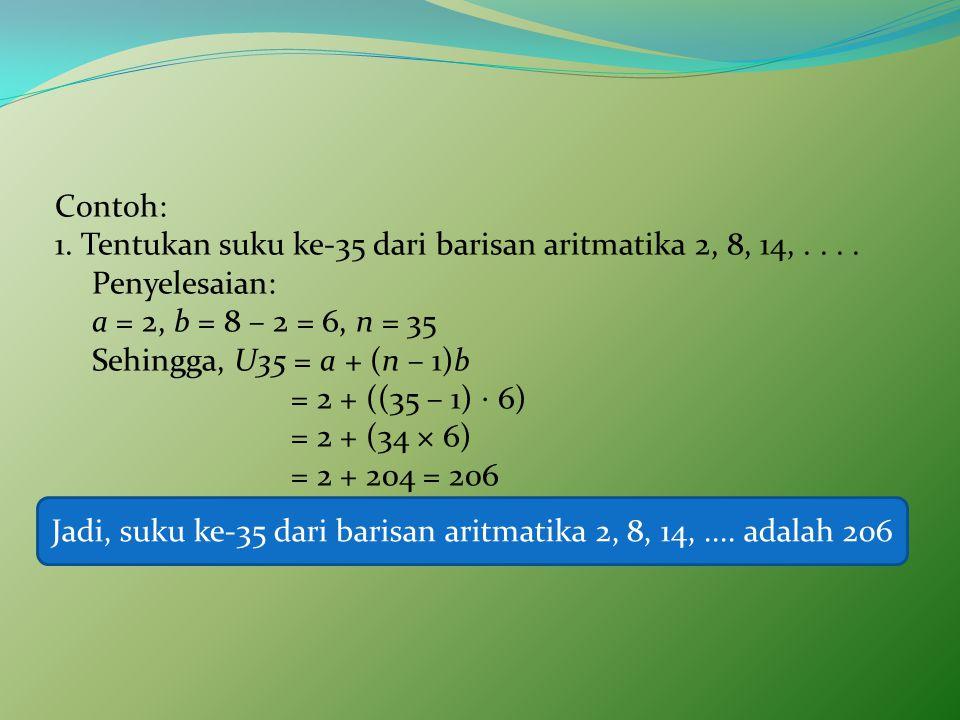 Contoh: 1.Tentukan suku ke-35 dari barisan aritmatika 2, 8, 14,....