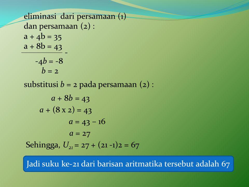eliminasi dari persamaan (1) dan persamaan (2) : a + 4b = 35 a + 8b = 43 - -4b = -8 b = 2 substitusi b = 2 pada persamaan (2) : a + 8b = 43 a + (8 x 2) = 43 a = 43 – 16 a = 27 Sehingga, U 21 = 27 + (21 -1)2 = 67 Jadi suku ke-21 dari barisan aritmatika tersebut adalah 67