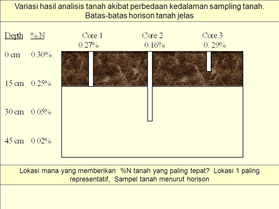 Lokasi mana yang memberikan %N tanah yang paling tepat? Lokasi 1 paling representatif, Sampel tanah menurut horison Variasi hasil analisis tanah akiba