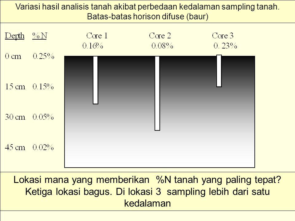 Variasi hasil analisis tanah akibat perbedaan kedalaman sampling tanah. Batas-batas horison difuse (baur) Lokasi mana yang memberikan %N tanah yang pa