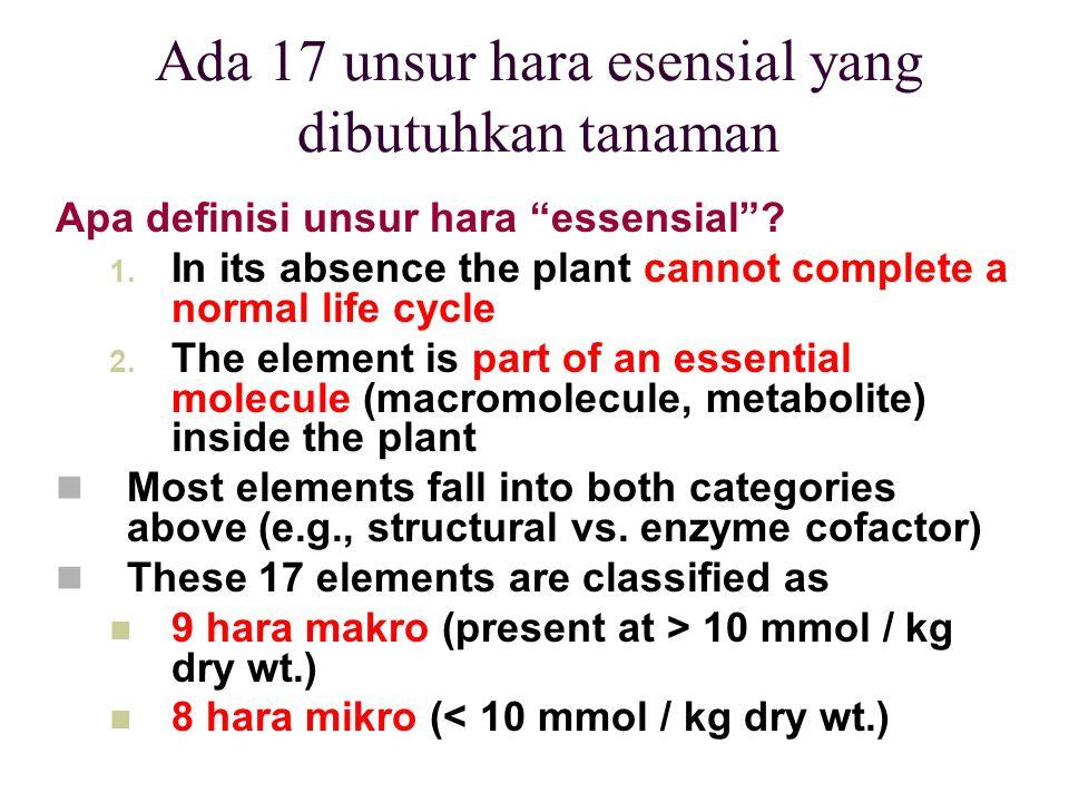 "Ada 17 unsur hara esensial yang dibutuhkan tanaman Apa definisi unsur hara ""essensial""? 1. In its absence the plant cannot complete a normal life cycl"