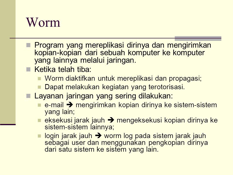 Worm Program yang mereplikasi dirinya dan mengirimkan kopian-kopian dari sebuah komputer ke komputer yang lainnya melalui jaringan. Ketika telah tiba: