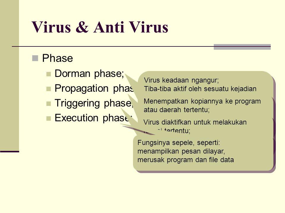 Virus & Anti Virus Phase Dorman phase; Propagation phase; Triggering phase; Execution phase; Virus keadaan ngangur; Tiba-tiba aktif oleh sesuatu kejad
