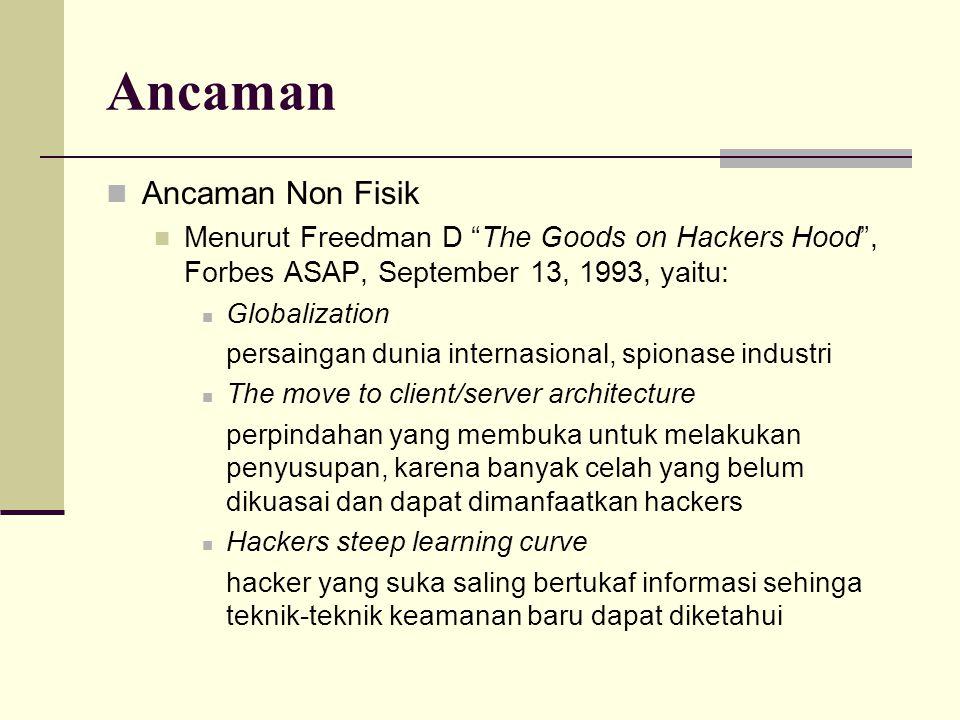 "Ancaman Ancaman Non Fisik Menurut Freedman D ""The Goods on Hackers Hood"", Forbes ASAP, September 13, 1993, yaitu: Globalization persaingan dunia inter"