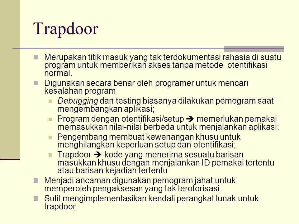 Trapdoor Merupakan titik masuk yang tak terdokumentasi rahasia di suatu program untuk memberikan akses tanpa metode otentifikasi normal. Digunakan sec