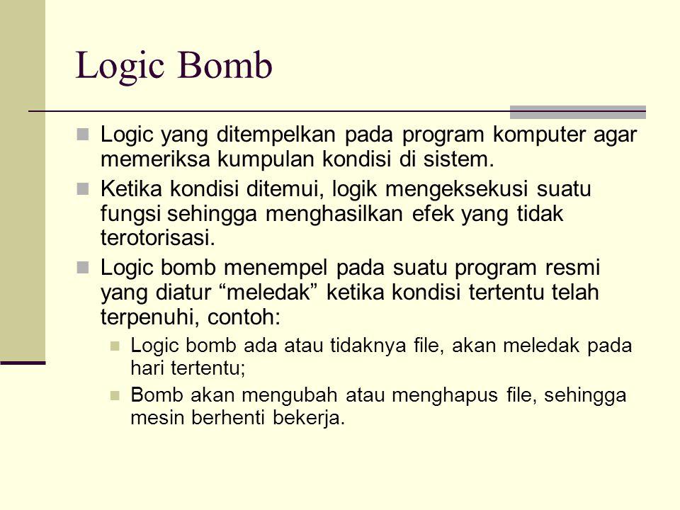 Logic Bomb Logic yang ditempelkan pada program komputer agar memeriksa kumpulan kondisi di sistem. Ketika kondisi ditemui, logik mengeksekusi suatu fu