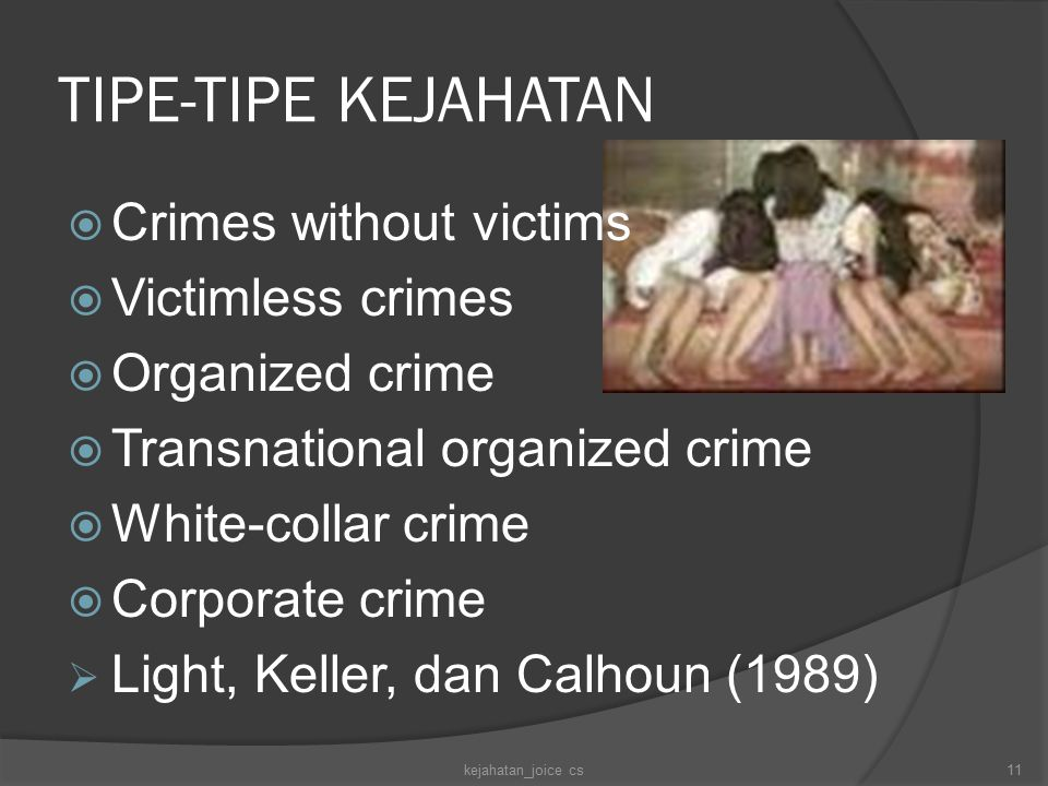 TIPE-TIPE KEJAHATAN  Crimes without victims  Victimless crimes  Organized crime  Transnational organized crime  White-collar crime  Corporate cr