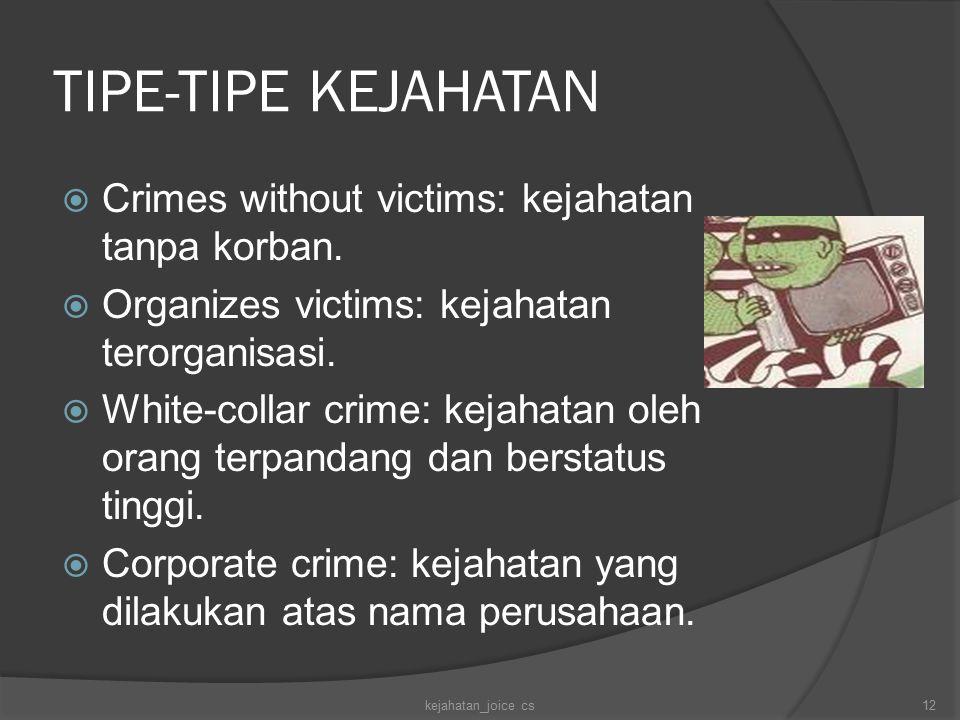 TIPE-TIPE KEJAHATAN  Crimes without victims: kejahatan tanpa korban.  Organizes victims: kejahatan terorganisasi.  White-collar crime: kejahatan ol