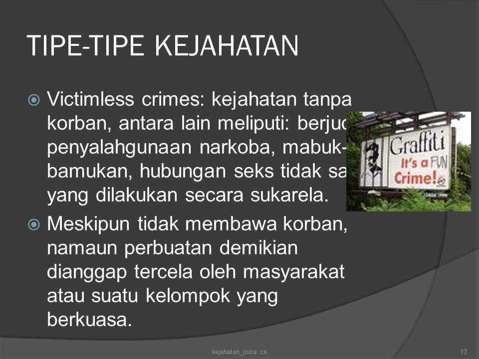 TIPE-TIPE KEJAHATAN  Victimless crimes: kejahatan tanpa korban, antara lain meliputi: berjudi, penyalahgunaan narkoba, mabuk- bamukan, hubungan seks