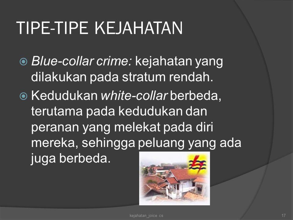 TIPE-TIPE KEJAHATAN  Blue-collar crime: kejahatan yang dilakukan pada stratum rendah.  Kedudukan white-collar berbeda, terutama pada kedudukan dan p