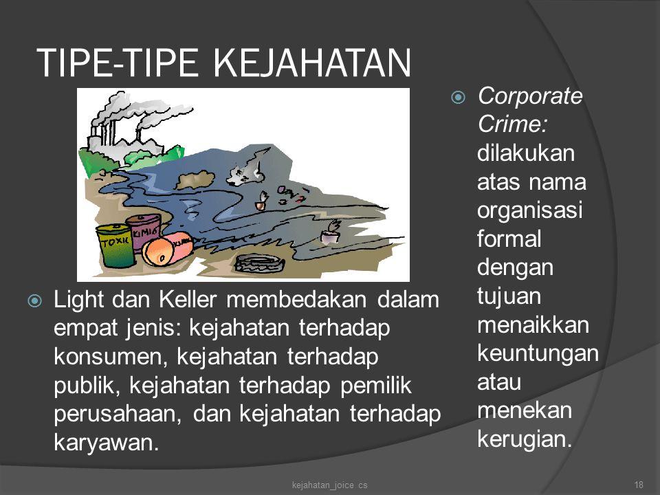TIPE-TIPE KEJAHATAN  Light dan Keller membedakan dalam empat jenis: kejahatan terhadap konsumen, kejahatan terhadap publik, kejahatan terhadap pemilik perusahaan, dan kejahatan terhadap karyawan.