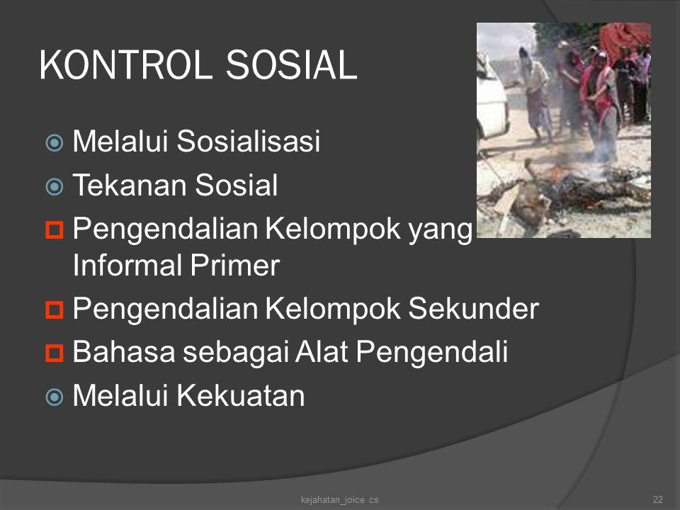 KONTROL SOSIAL  Melalui Sosialisasi  Tekanan Sosial  Pengendalian Kelompok yang Informal Primer  Pengendalian Kelompok Sekunder  Bahasa sebagai A